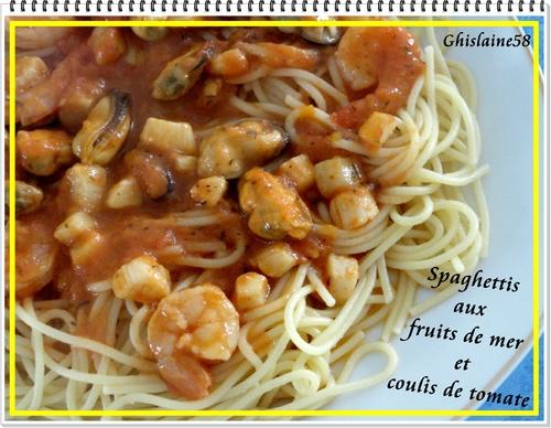Spaghettis aux fruits de mer et coulis de tomate