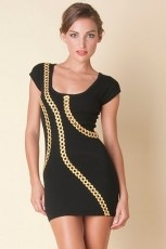 deb dress blk gold half