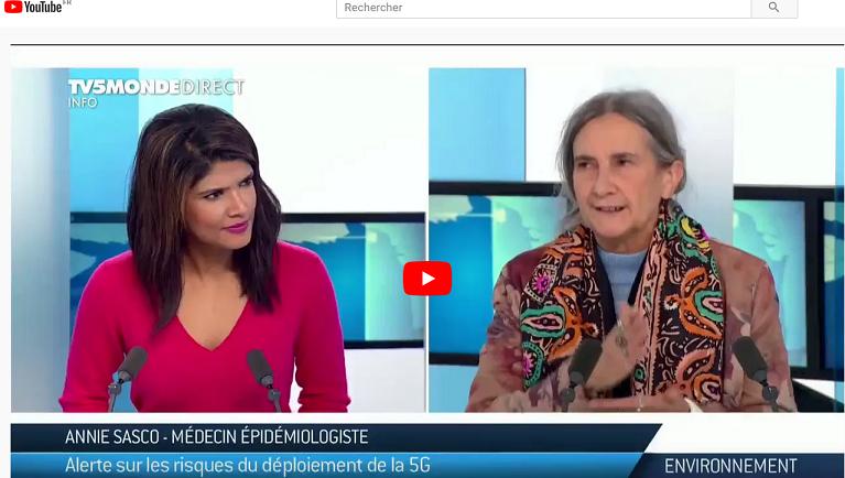 TV5 Monde Environnement  >>  Annie Sasco parle des risques de la 5G