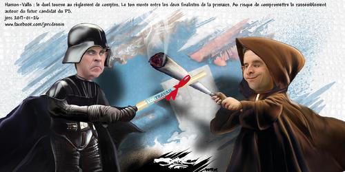 "dessin de JERC jeudi 26 janvier 2017 caricature Manuel Valls Benoît Hamon le titre du nouveau Star War dévoilé ""le dernier Jedi"" www.facebook.com/jercdessin"