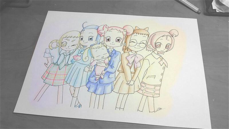 Le groupe en écolières