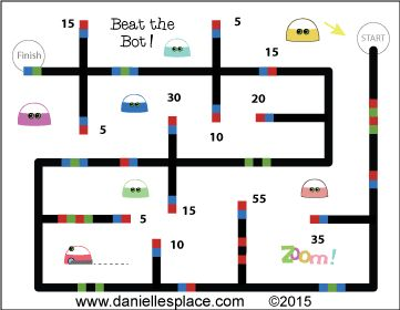 """Beat the Bot"" Addtional and Multipliaction Reveiw Game with Ozobot - Children try to add up or multiply all the numbers before Ozobot reaches the finish line - Printable game sheets available on www.daniellesplace.com. Click on the image to go to Danielle's Place.:"