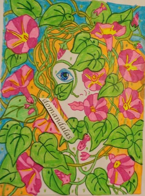 DOMANDALAS  coloriage mystère femme et fleurs