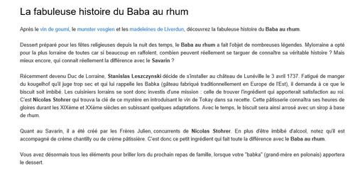 HISTOIRE DU BABA