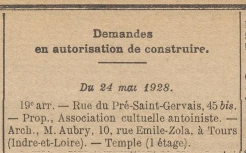 Agrandissement rue du Pré Saint-Gervais (Bulletin municipal officiel de la Ville de Paris 26 mai 1928)