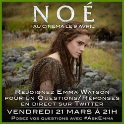 Noé - Emma Watson répond ce soir à 21 heures aux questions des fans sur Twitter !