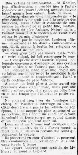 Une victime de l'antoinisme (L'Evénement, 28 juillet 1912)