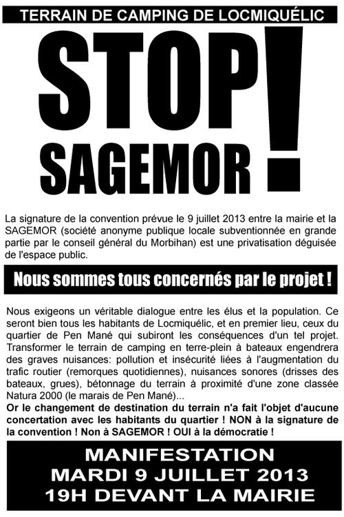 Manifestation lundi 9 juillet à Locmiquélic : STOP SAGEMOR !