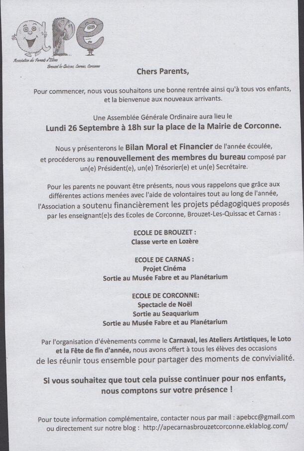 Réunion de rentrée - lundi 26 septembre 18h - Corconne