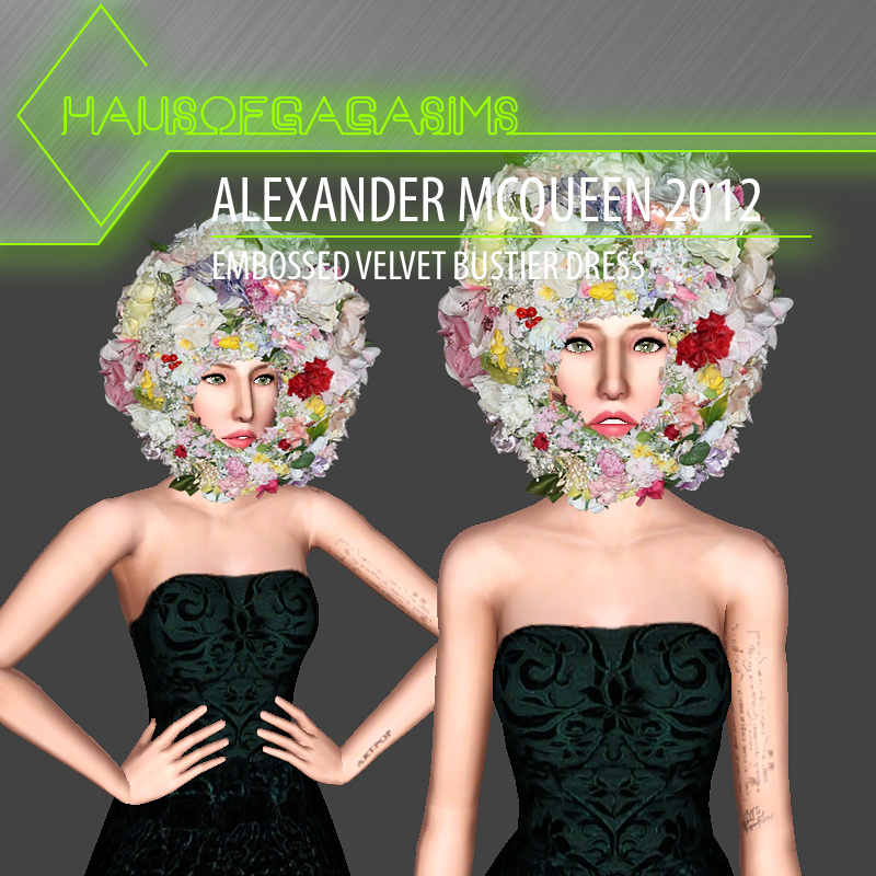 ALEXANDER MCQUEEN 2012 EMBOSSED VELVET BUSTIER DRESS