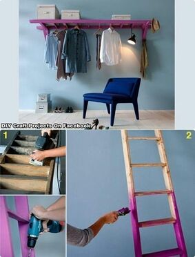 Diy clothes hanger awesome for all my material too bad when my honey wants the ladder back lol:
