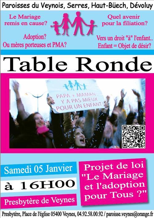 Table Ronde, Mariage pour tous - 5 Janvier 2013