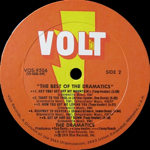 "The Dramatics : Album "" The Best Of The Dramatics "" Volt Records VOS-9506 [ US ]"