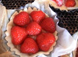 Tartelettes rhubarbe - fraises