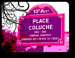 Plaque place Coluche