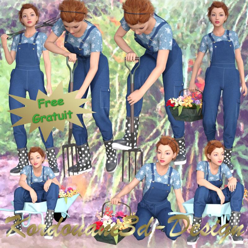 Femme jardinière (tube-poser-render)