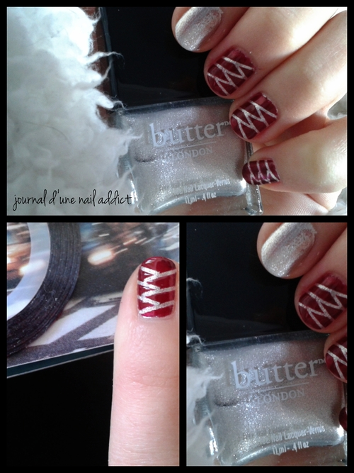 nail art zig zag striping tape base argenté butter london et rouge cerise yves rocher journal d'une nail addict