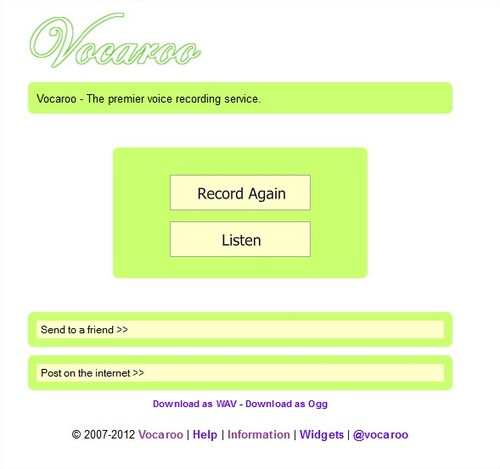 Vocaroo: record and send your voice easily