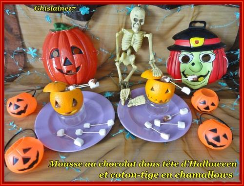 Mousse chocolat et coton-tige d'Halloween