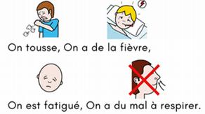 """""""Symptômes et prévention du Coronavivus"""" recommandations en pictogrammes Arassac"""