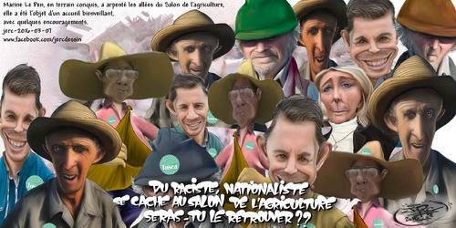 JERC 2016-03-07, caricature Marine Le Pen, abondance de bouse au salon de l'agriculture www.facebook.com/jercdessin Cliquer sur la photo pour voir en plus grand