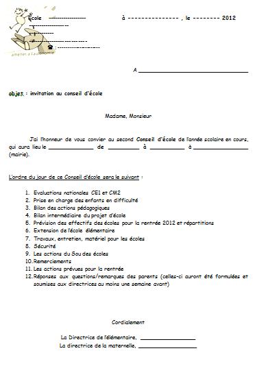 direction : ordres du jour du conseil d'école