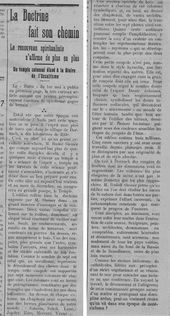 Temple Goetheanum de Rudolf Steiner à Dornach (Le Fraterniste 8 mai 1914)