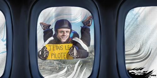 dessin de JERC et AKAKU du vendredi 05 octobre 2018 caricature Manu Macron Ne pas confondre parachute et char à ... www.facebook.com/jercdessin @dessingraffjerc