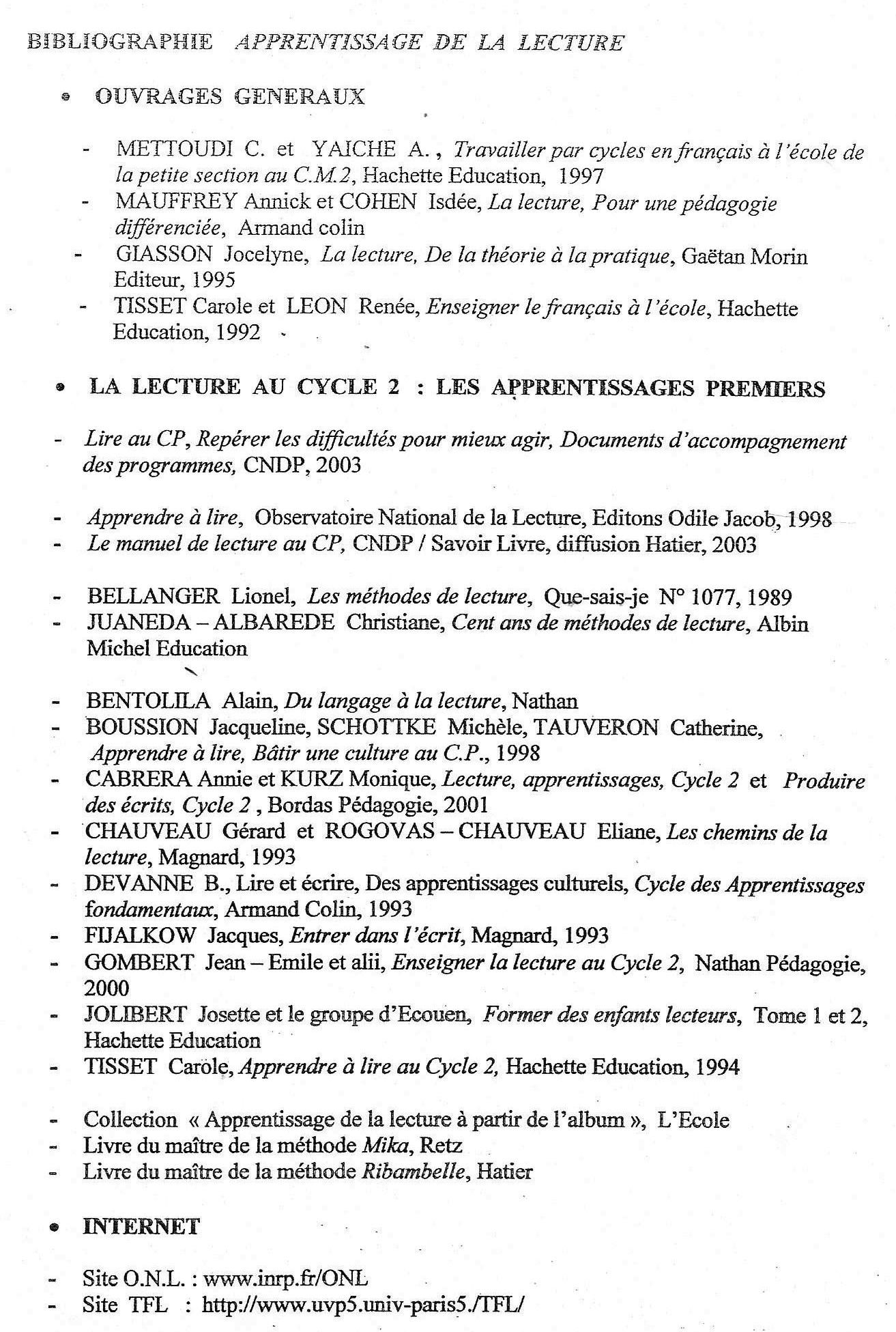 Bibliographie lecture IUFM 2005
