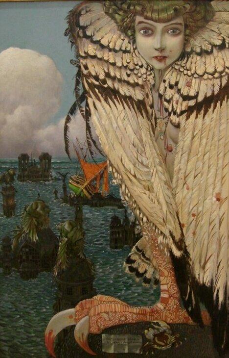 Une créature légendaire, un être hybride, mi femme mi oiseau ou femme à queue de poisson