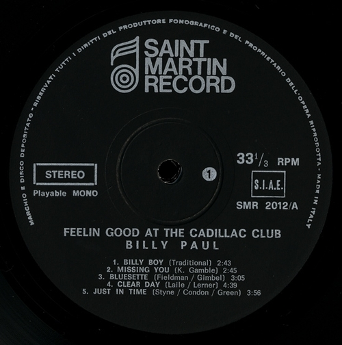 "1973 : Billy Paul : Album "" Feelin' Good At The Cadillac Club "" Philadelphia International Records KZ 32119 [ US ]"