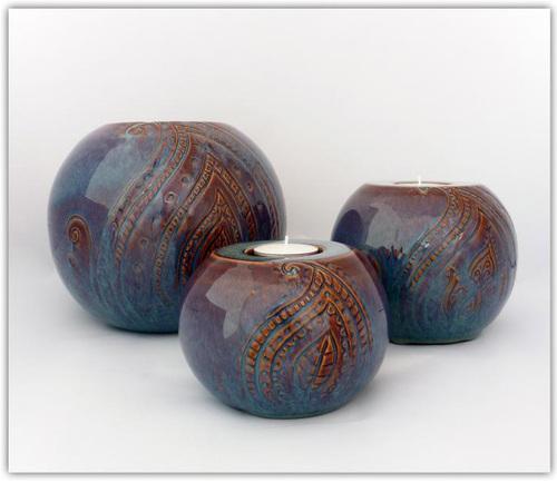 3 Bougeoirs boules en céramique