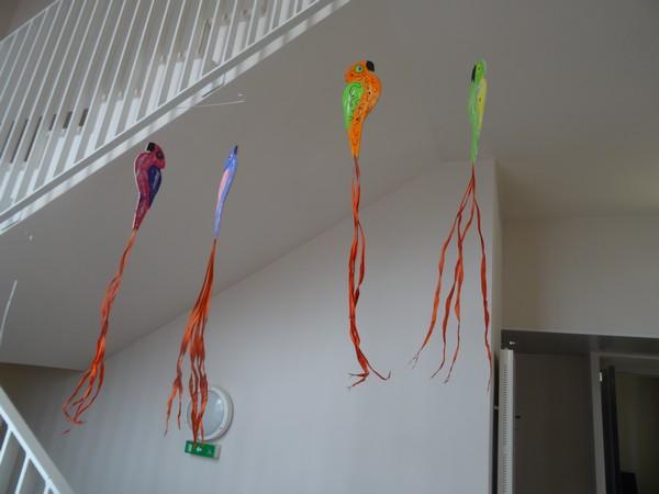 Les élèves des écoles ont réalisé de très belles compositions d'oiseaux pour la nuit des musées 2016