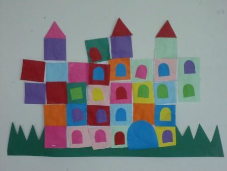 Kindergarten Collage Castle château (collage de formes)