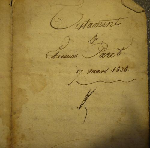 Le testament d'Etienne Paret - 1828