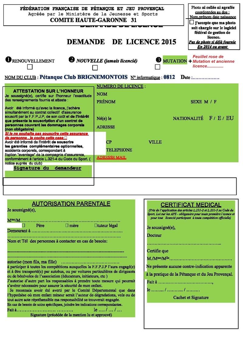 Renouvellements   - Mutations ou nouvelles Licences 2015