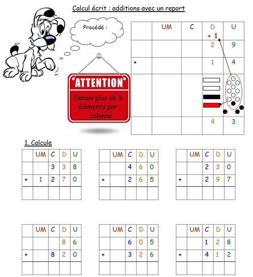 leçon sur l'addition écrite avec un report