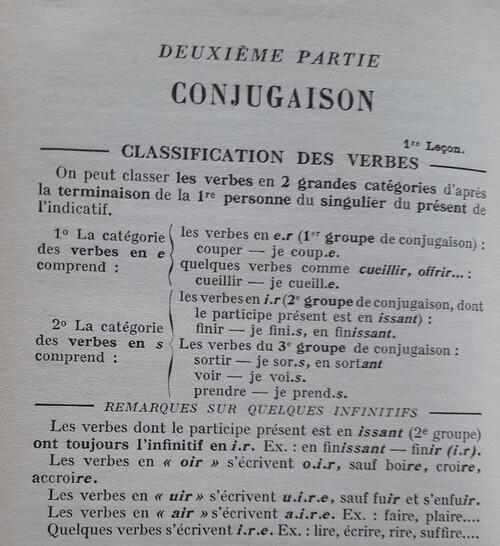 F / La classifictaion des verbes en 3 groupes