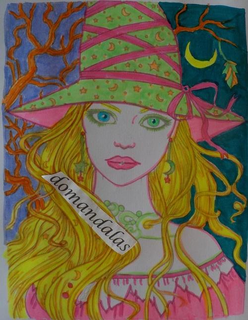 DOMANDALAS  coloriage d'une sorcière 10 Molly Harrison