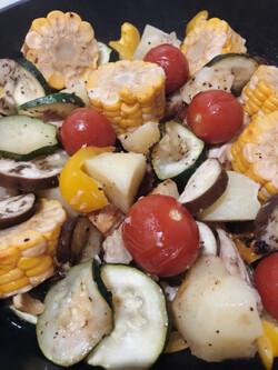 Légumes d'été et Ailes grillées