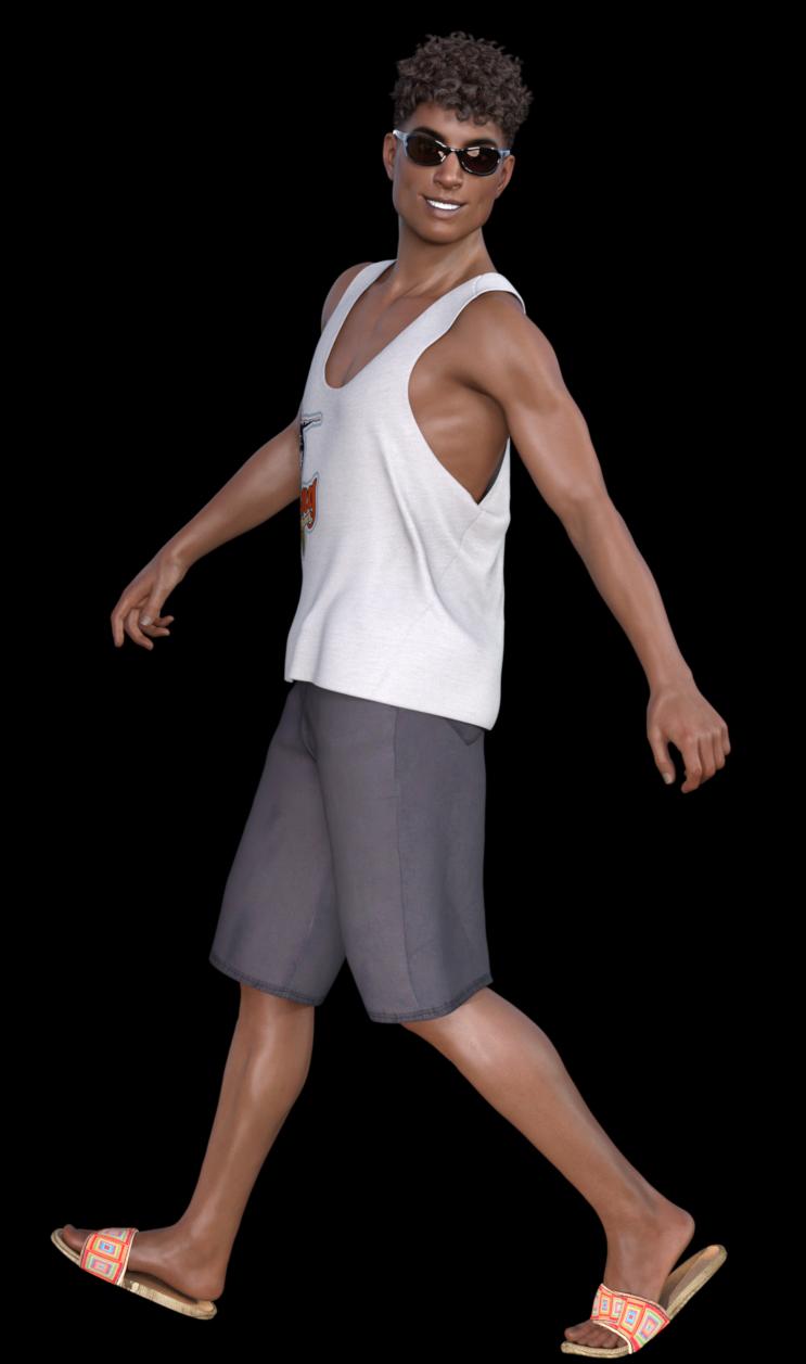 Tube homme bronzé en tenue d'été