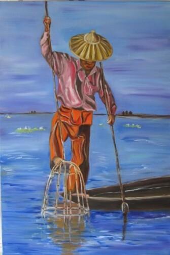 Un pêcheur du lac Inlé en Birmanie