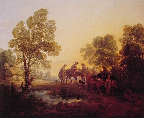 THOMAS-GAINSBOROUGH-EVENING-LANDSCAPE--PEASANTS-AND-MOUNTED