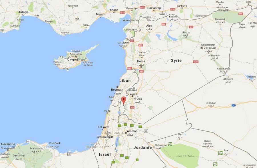 """L'armée syrienne parle d'une """"agression"""" dans la province de Qouneitra. Capture d'écran Google maps"""
