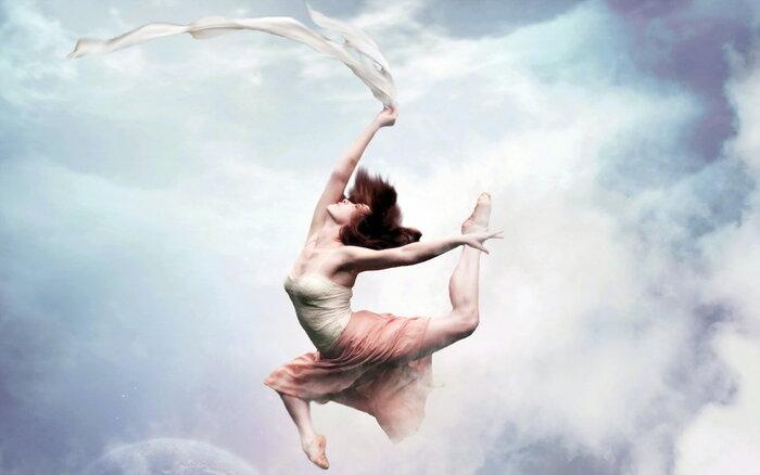 Girl, danse, ciel, style Wallpaper