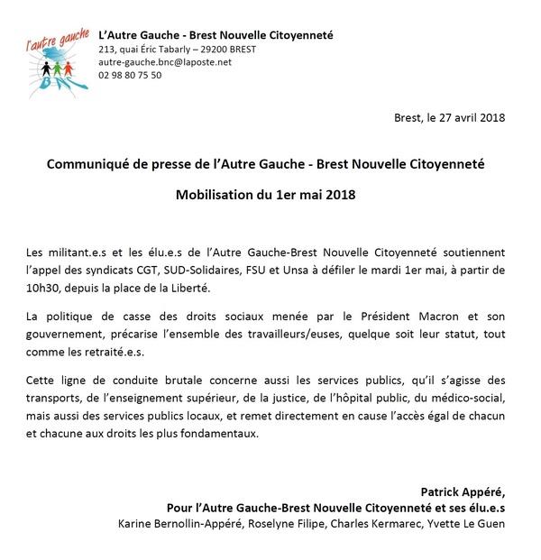 Appel du 1er Mai - Communiqué de l'Autre Gauche-BNC