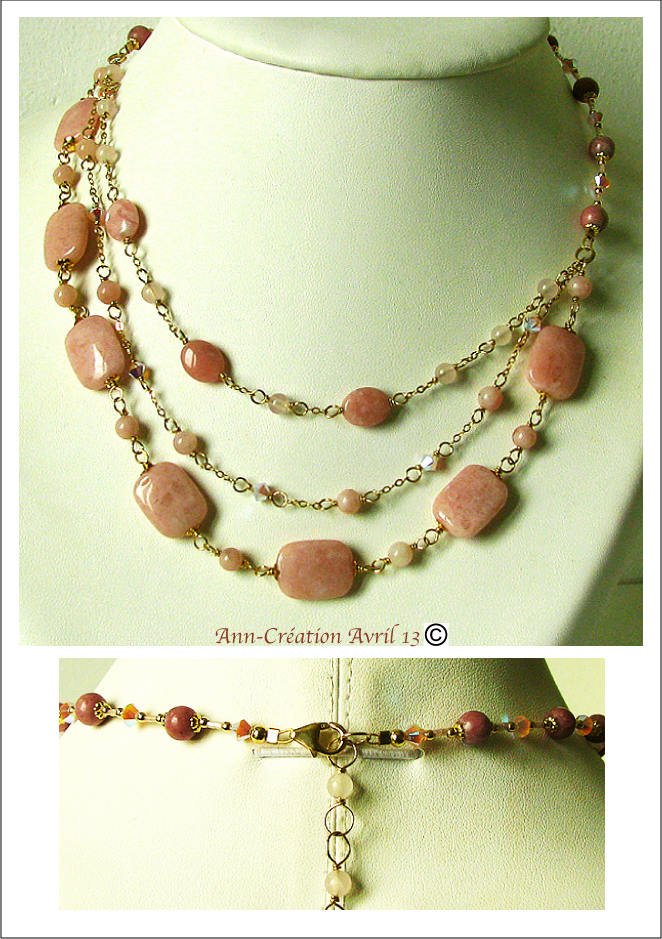 Collier 3 rangs assymétrique Opale Rose, Rhodonite, Cristal Swarovski, Gold Filled