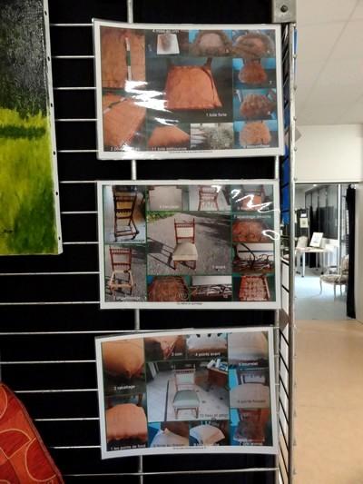 """Exposition 2012 de l'atelier """" réfection de sièges"""" à la MJC Lucie Aubrac de Châtillon sur Seine"""