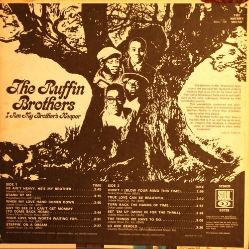"""David & Jimmy Ruffin : Album """" I Am My Brothers Keeper """" Soul Records SS 728 [ US ]"""