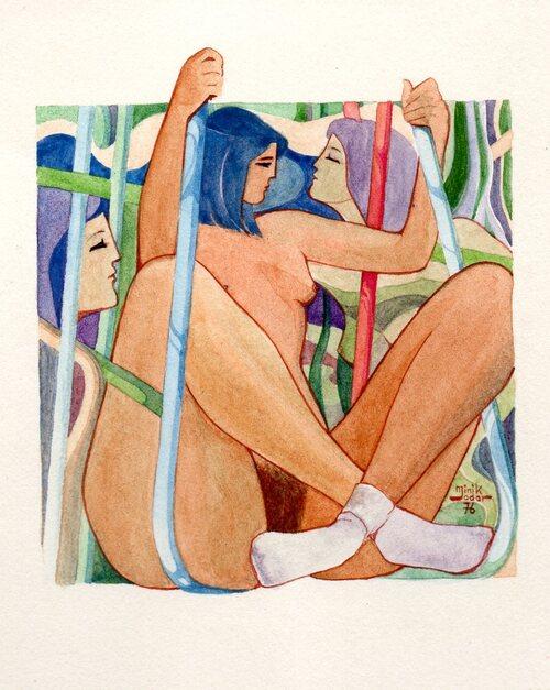 aquarelle de 1976 8/10 centimètres.